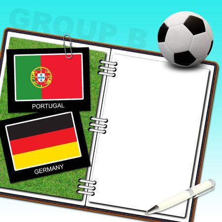 Soccer ball euro and flag portugal and germany - euro 2012 group b photo