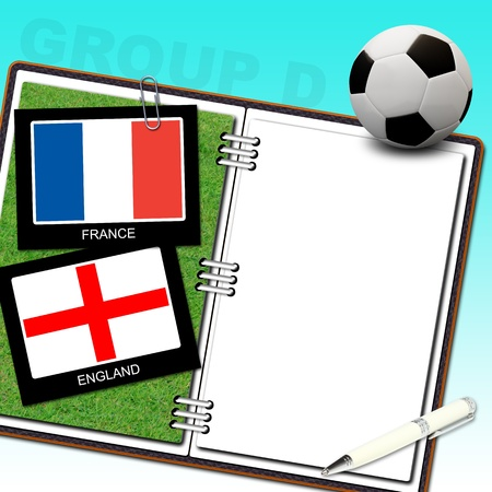 Soccer ball euro with flag france and england - euro 2012 group D photo