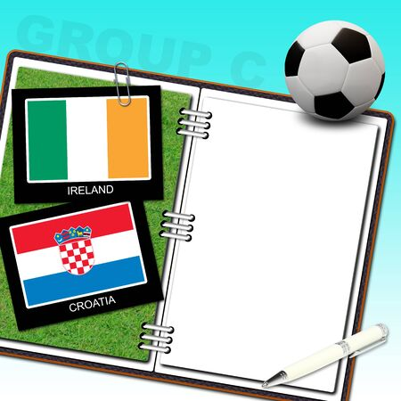 Soccer ball euro with flag ireland and croatia - euro 2012 group C