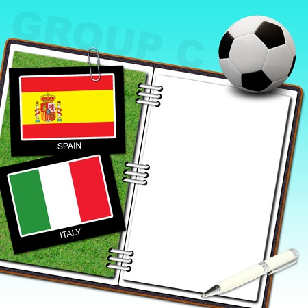 Soccer ball euro with flag spain and italy - euro 2012 group C Stock Photo