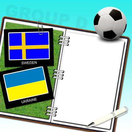 Soccer ball euro with flag sweden and ukraine - euro 2012 group D photo