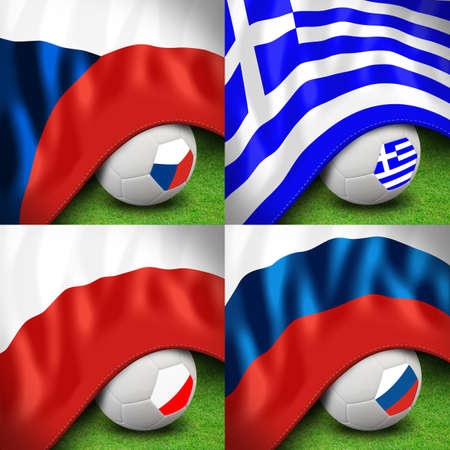 euro 2012 group a soccer ball and flag Stock Photo - 13563095