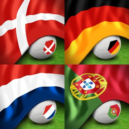 euro 2012 group b soccer ball and flag Stock Photo - 13563097