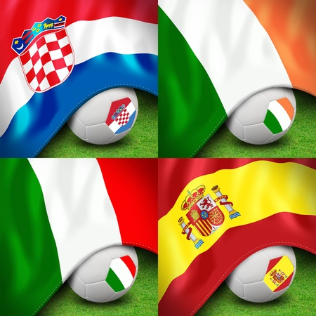 euro 2012 group c soccer ball and flag photo