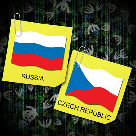 euro 2012 group a soccer ball and flag czech republic and russia Stock Photo
