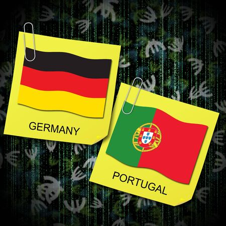 euro 2012 group b soccer ball and flag germany and portugal photo