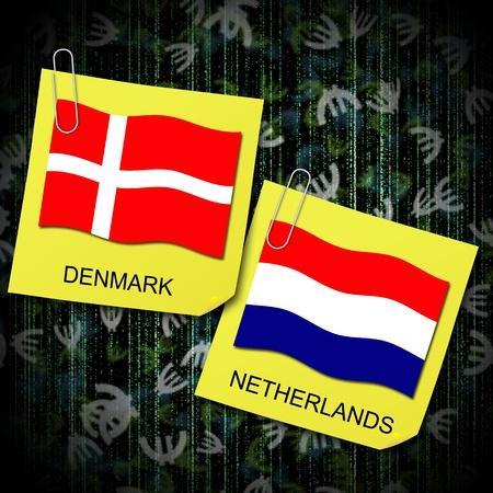 b ball: euro 2012 group b soccer ball and flag netherlands and denmark Stock Photo