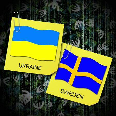 euro 2012 group d soccer ball and flag ukraine and sweden Stock Photo - 13563088