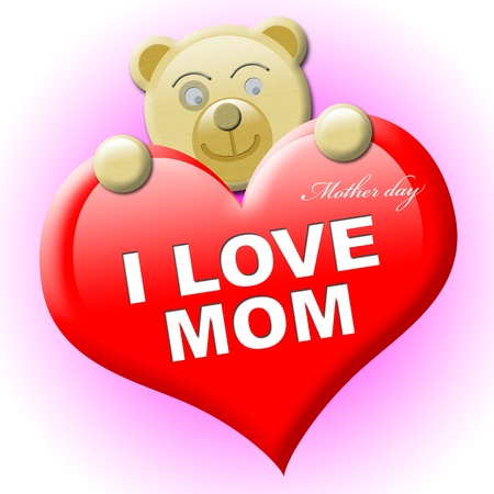 A little brown bear with heart for mothers day photo