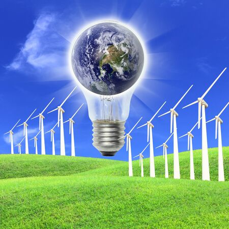 Elements of this image furnished by NASA A wind farm is a group of wind turbines in the same location used to produce electric power photo
