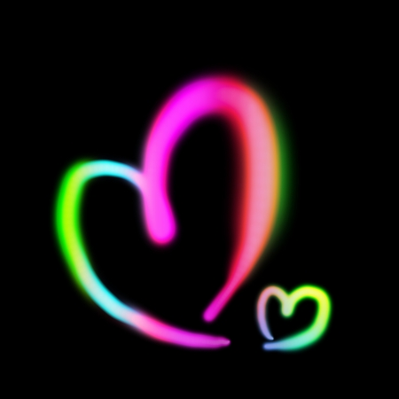 Neon light heart shape photo