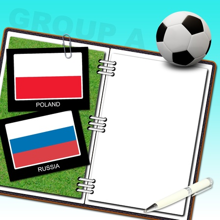 Soccer ball with flag poland and russia photo