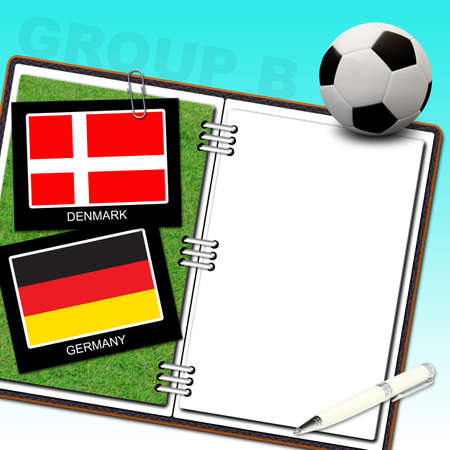 Soccer ball with flag denmark and germany Stock Photo - 13912185