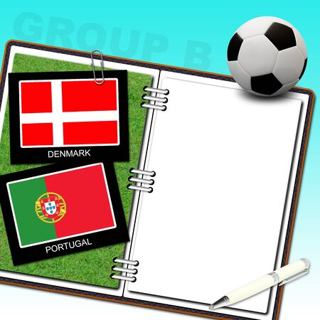 Soccer ball with flag denmark and portugal photo
