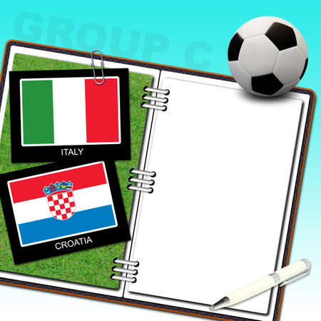 Soccer ball with flag italy and croatia Stock Photo