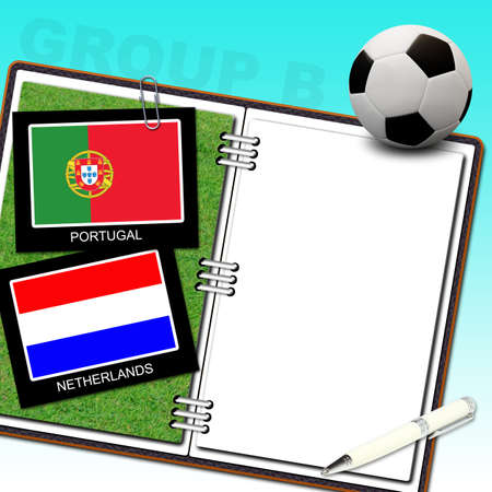 Soccer ball with flag portugal and netherlands Stock Photo - 13912196