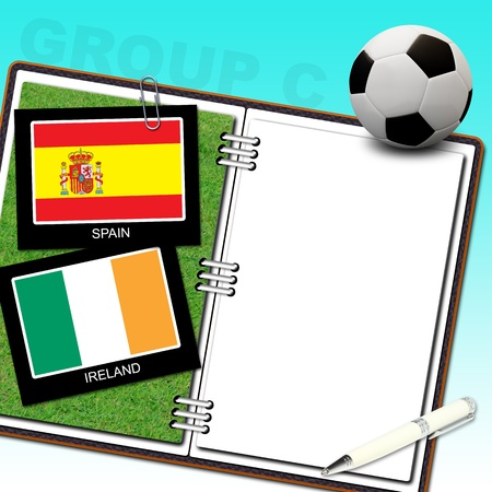 Soccer ball with flag spain and ireland Stock Photo