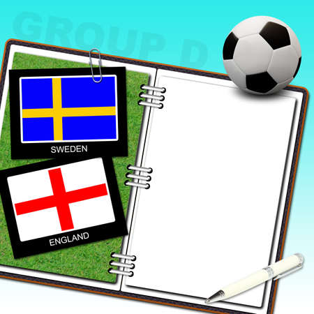 Soccer ball with flag sweden and england photo