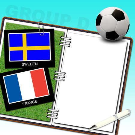 Soccer ball with flag sweden and france photo