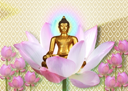 Gold buddha still with colorful ray on pink lotus photo