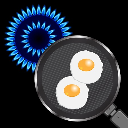 stove: Frying Pan with Fried Eggs on the stove.