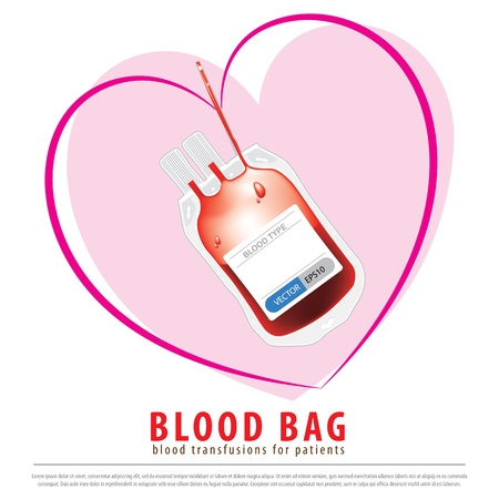 Medical blood bag is flexible use of blood transfusions for patients. Illustration