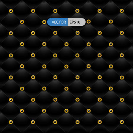 light reflex: Black leather sofa with gold button on grid for decorative idea