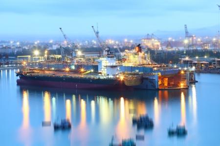 Ship repair in shipyard docks