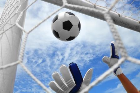 Doelman genoemd goaltender, netminder, goalie, of bewaarder in sommige sporten is een aangewezen speler geladen met direct voorkomen dat de tegenpartij van de lijn halen door het onderscheppen van schoten op doel Stockfoto