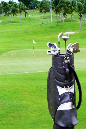 A golf course comprises a series of holes, each consisting of a teeing ground, a fairway, the rough and other hazards, and a 