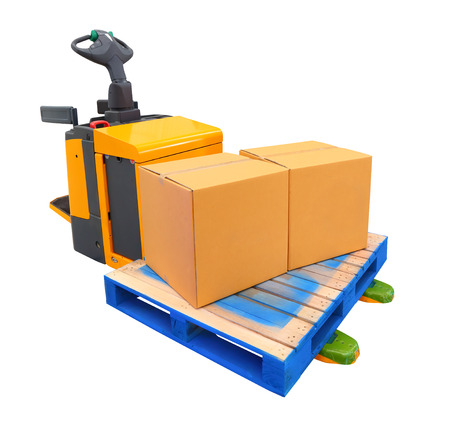 A forklift truck (also called a lift truck, a fork truck, or a forklift) is a powered industrial truck used to lift and transport materials Stock Photo