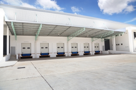 loading bay: Channel for the transport of goods to and from the Warehouse Stock Photo