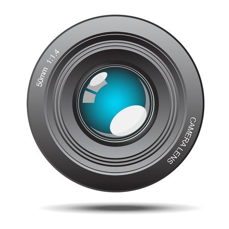glass reflection: DSLR camera lens optical blue glass with reflection illustration