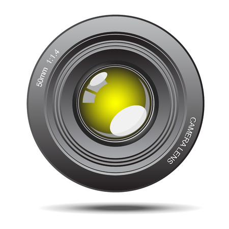 glass reflection: DSLR camera lens optical yellow glass with reflection illustration
