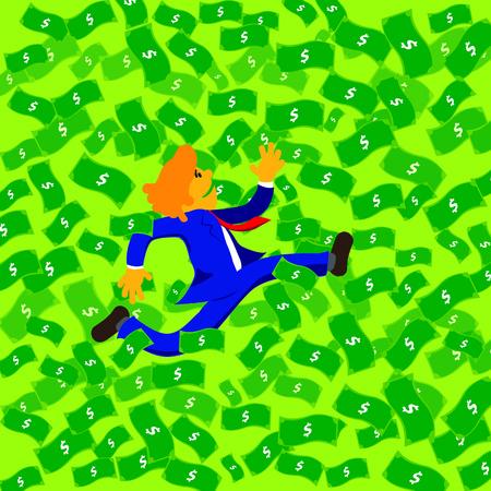 flying money: Business man running in money sheet flying