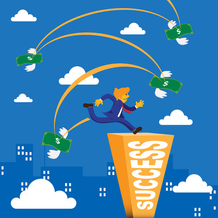 obstacle: Business man running and jump over bank note to success bar Illustration