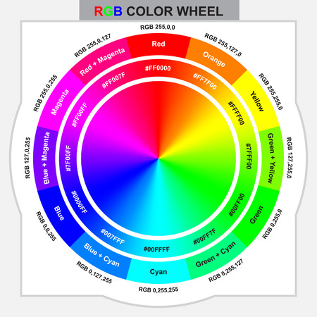 RGB color wheel for design and graphic work with color code Illustration