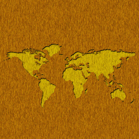sawn: Old wood panels world map cut out generated by raster program Stock Photo