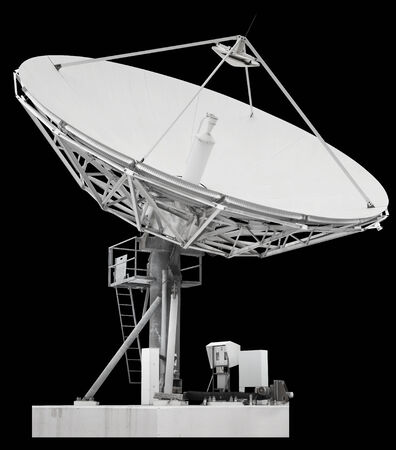 A satellite dish is a dish-shaped type of parabolic antenna designed to receive microwaves from communications satellites, which transmit data transmissions or broadcasts, such as satellite television Stock Photo