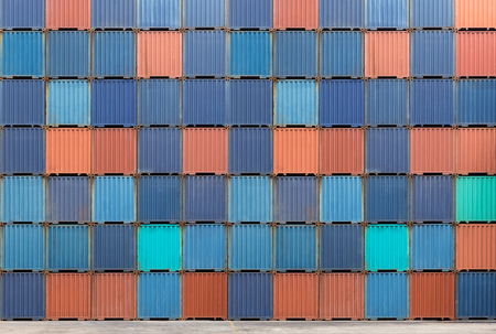 Stack of cargo container standby for transport by truck import or export to customer Reklamní fotografie