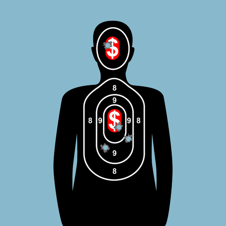 Target Shooting and dollar sign, dollar sign meaning for business target success. Business goal is to target successful business like way into target shooting