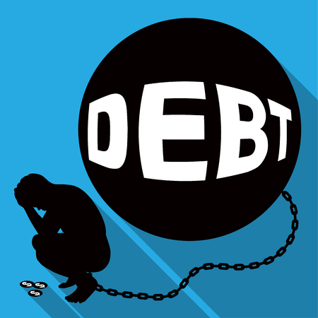 Worried businessman sitting on enormous debt which the company plans mistakes. Ilustrace