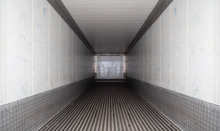 An intermodal container is a large standardized shipping container, designed built for intermodal freight transport, containers can be used across different of transport – from ship to rail to truck Standard-Bild