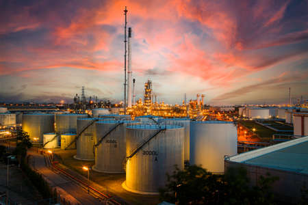 Oil refineries with large fuel storage tanks Has a very high capacity Located in a large industrial estate