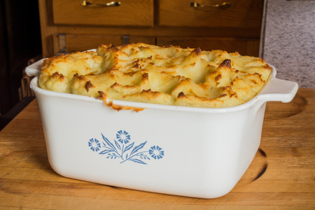 Sheppards pie in a casserole dish.