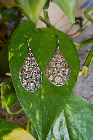 A pair of sterling silver earrings on a plant leaf.