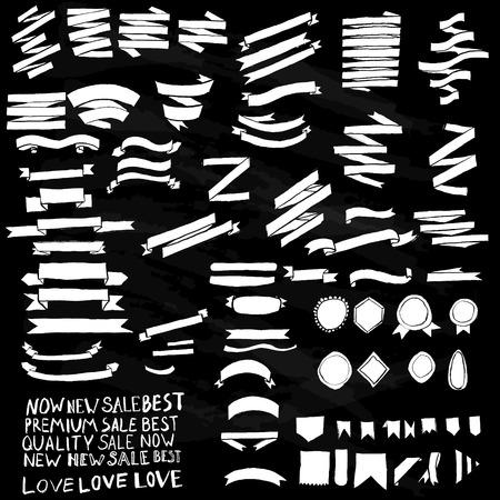 ruban noir: Ensemble de banni�res et rubans dessin�s � la main Illustration
