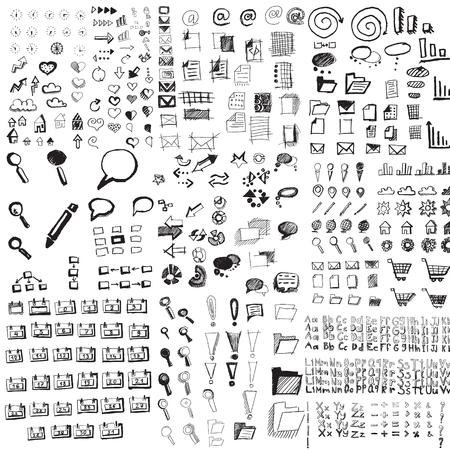 bubble alphabet: Set of hand drawn business doodle elements. Clock, heart, arrow, cloud, folder, glass, exclamation mark, bubble, alphabet. Vector illustration.