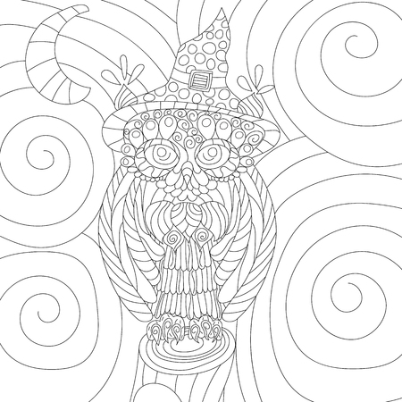 Owl anti stress vector coloring book for adult. Isolated ornament on white background with doodle and zen tangle elements. Illustration