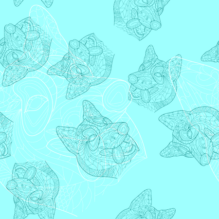 Dog, puppy doodle seamless pattern.